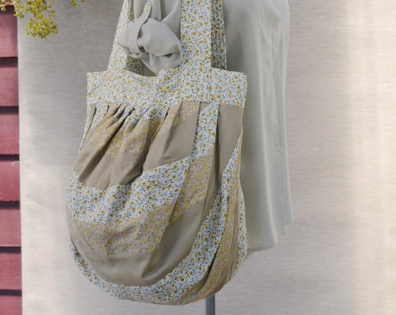 Patchwork Quilted Jumbo Shoulder Bag - Roomy Bucket Bag - Adorable Vintage Country Quilting in Neutral Mini Florals