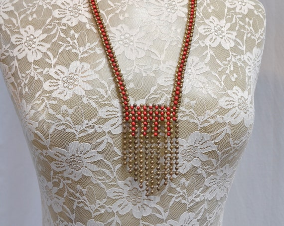 Vintage Boho Tribal Red & Brass Wire and Metal Ball Chain Necklace - 40 cm long
