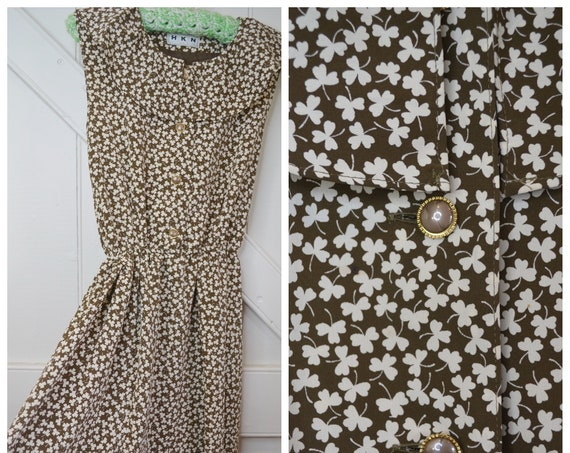 Dainty Granny 70's Dress in Brown Mini Floral - Sleeveless Ruffle Collar, Cute Buttons - Hong Kong Vintage - XS