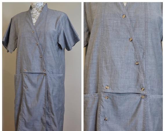 Japanese Vintage Cotton Minimalist Asymmetrical Detailed Button Front - Machine Grey Utilitarian Industrial Shift Dress - One Size