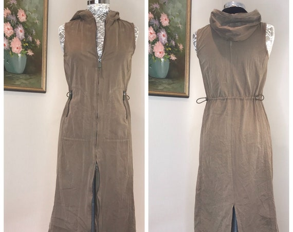 Vintage Microfiber Hooded Zipper Dress - Toggles, Zippers, Pockets GALORE! - 90's Soft Brown Ultra Suede - Small - Eur 38, AUS 12, USA 8