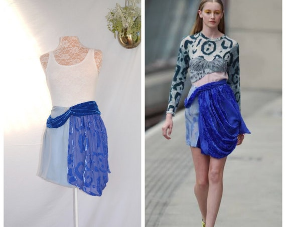 "SALE*. Haute Couture* Michael Van Der Ham - Avant Garde Blue Silk Velvet Loose Flow Mini Skirt - Photo London Fashion Week - XS - 25"" Waist"