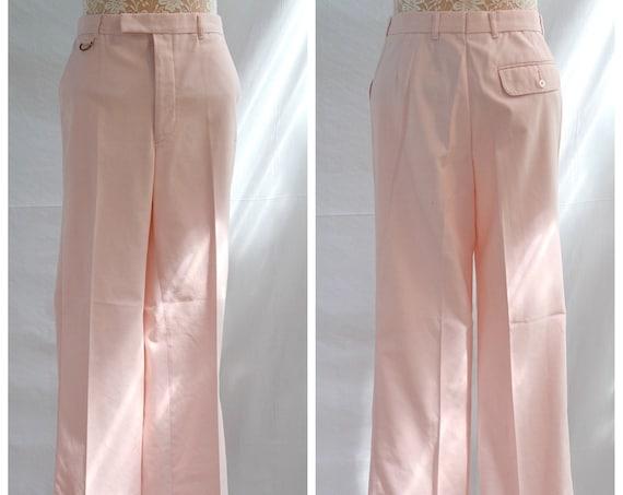 """Vintage Pale PINK Men's Summer Trousers - Preppy MOD - Unisex - Breathable Cotton Blend - 30"""" waist 31"""" Inseam - 77 cm - Men's Small"""