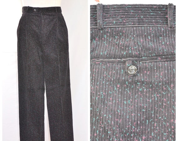 "1980's Lux Cotton Corduroy Trousers - Black Flecked - Mens 28"" Waist 31"" Inseam"