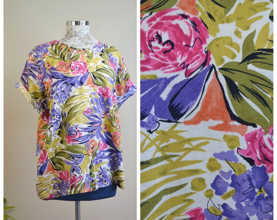 Lovely 90's Floral Print Boxy Top in Fine Thin Cotton.  Loose Fit, Stunning Spring Floral in Olive, Fuchsia, Violet and Coral - Large
