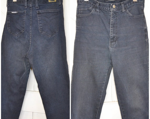 """80's Faberge Faded Black Denim - RARE Super High Waisted Sexy Mom Jeans - Soft thick stretchy faded - Unisex 30"""" Waist"""