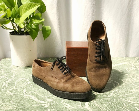 Cricket in Love * Brown Suede Oxfords - Vintage Leather Lace-up Loafers  - Sz 36