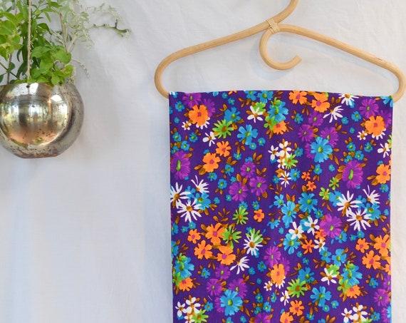 "60's MOD Stretchy Fabric - Vintage Floral - Bright Purple Orange Blue - 48"" x 30"""