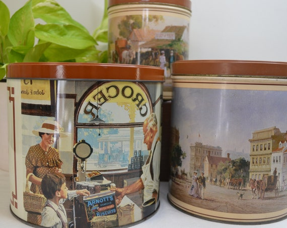Vintage Arnotts's Biscuit Tin Extra Large - Very Good Condition + 2 Victorian Printed Tins in Same Colour w/ Early Melbourne Scenes
