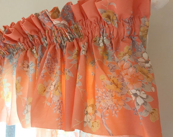 RARE Vintage 1960's Bright Coral Gathered Window Valance w/ Side Panels - Granny Floral on Apricot Background - Too Precious