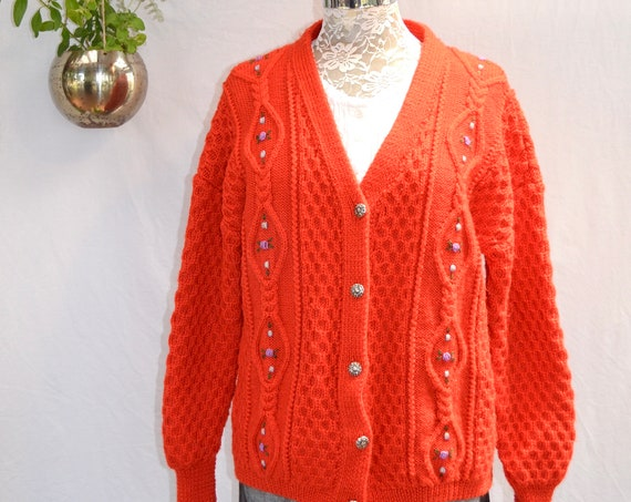 Fire Engine Red Vintage Hand Knit Granny Cardigan - Flower Embroidery - Silver Buttons - Folksy Country - Large