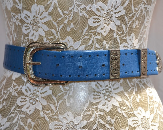 "SALE* Rhinestone Cowboy Vintage Electric Blue Glam Belt - Heavy Silver Stamped Hardware - 26"" - 32"" Waist"