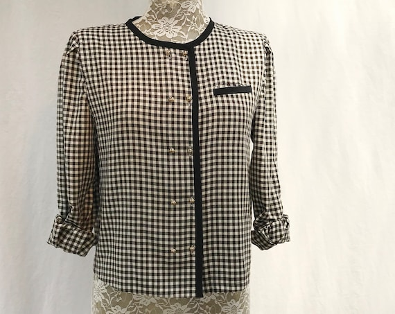 Cute Black & White Check Cropped Boxy Blouse - Lightweight Jacket - 90's Preppy Granny Sophisticated. Soft Rayon - Small