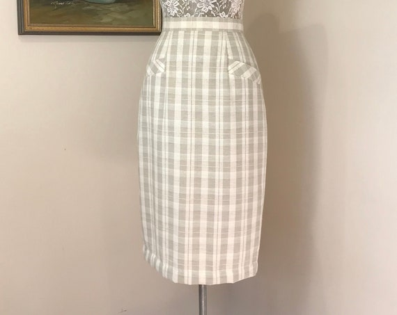 """80's does 50's Skinny Pencil Skirt in Soft Woven Plaid - Off White Earth Tones, Unlined, Linen Blend, Made in Australia - AUS 10 - 26"""" Waist"""
