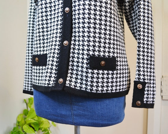 MOD Houndstooth Granny Cardigan in Stark Black & White - Lovely Vintage Buttons and Details - Small, Med
