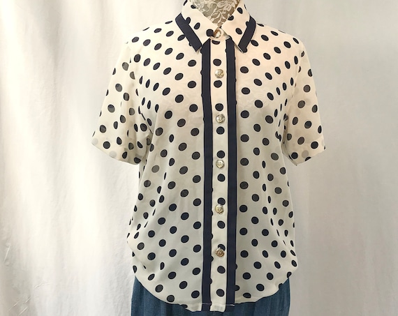 90's Sheer Navy & White Polka Dot Lovely Secretary Summer Blouse - Med