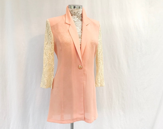 90's Coral Crepe Blazer w/ Cream Lace Sleeves - Single Button, Long Length - Easter Pastel Light Peach, Apricot - Small, Medium