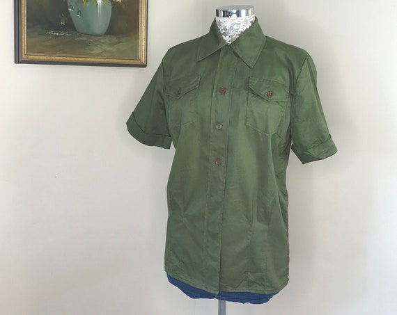 Vintage Army Surplus Women's Uniform Short Sleeve Button-up - Thick Army Olive Green Cotton - Like New Never Worn - Small - Medium