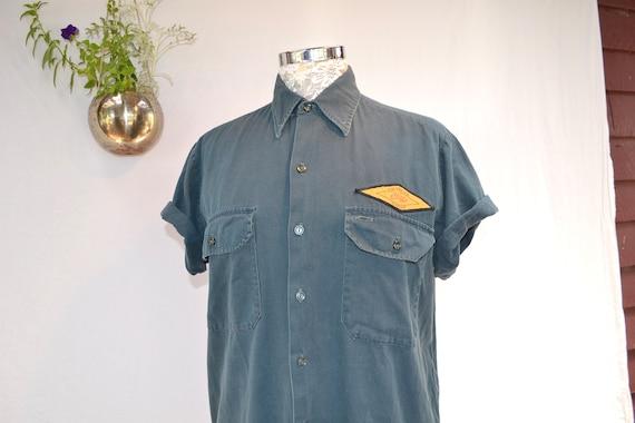 Vintage Utilitarian Australian Uniform Work Wear Shirt - Short Sleeve Industrial Minimalist - Teal Green Cotton Twill - Robe River Iron