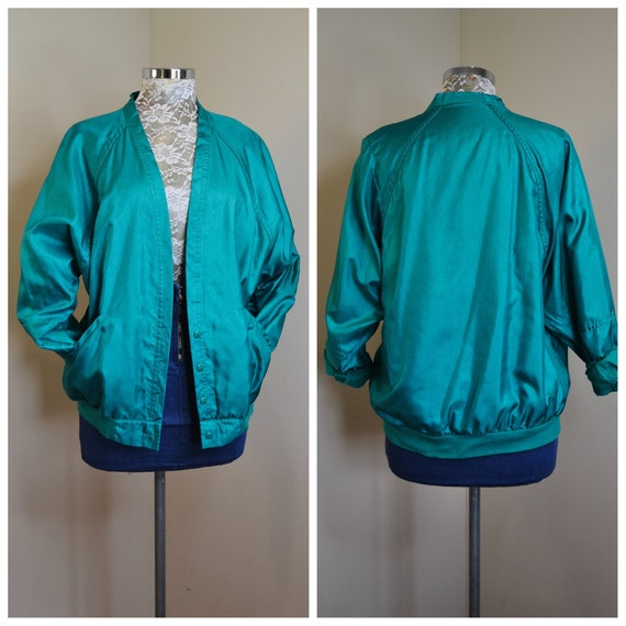 Stunning 80's Sporty Oversize Lightweight Jacket in Bright Teal Green - Fully Lined in Soft Cotton - Like New - AUS 12 - Medium