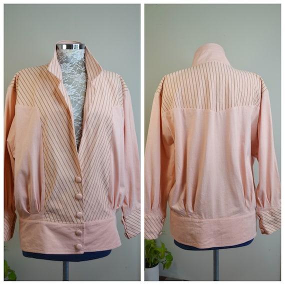 80's Pastel Peach & Gold Metallic Stripe Cotton Jacket - Vintage Light Jacket, Wind Cheater - Large