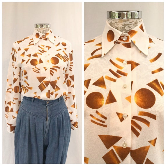 Sale* Geometric 70's Disco Button up Shirt In Bright White & Rusty Orange Shapes - Party Time! - Small