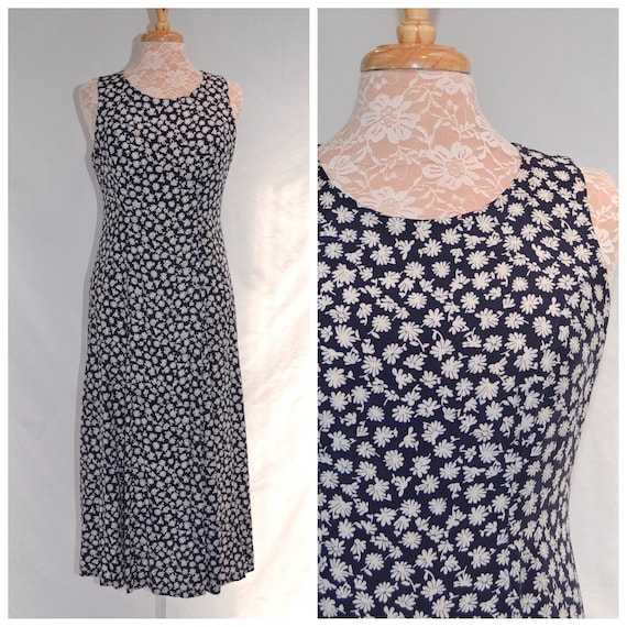 Navy & White 90's Sleeveless Day Dress - Mini Floral  by Forelle - Made in Australia - AUS 12