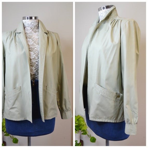 70's Lightweight Unlined Granny Jacket in Lovely Sage Green Polished Cotton- Vintage Mod Blazer in Light Grey Green - Small - Medium