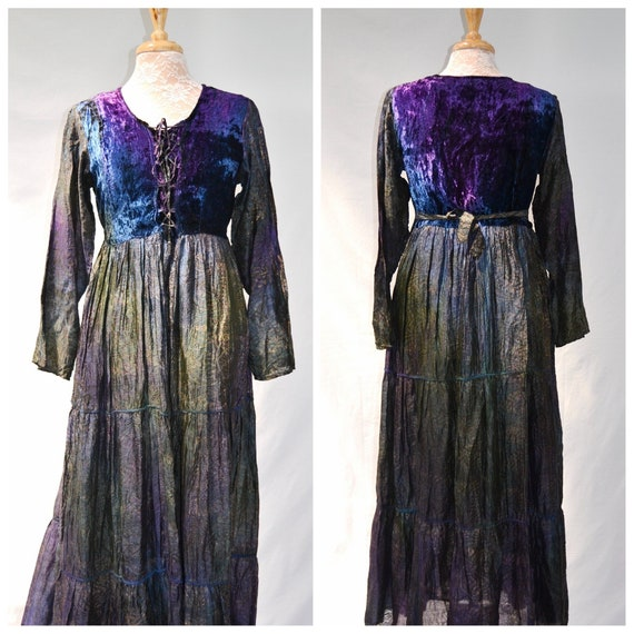 Enchantress* Crushed Velvet Empire Waist - Floor Length Goddess - Hippie Witch Gothic - Made in India -  Small