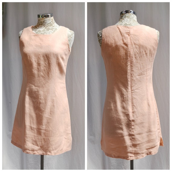 "Preppy in Peach * 90's Linen Dressy Shift - Simple Minimal Feminine Casual 100% Natural Weave Linen - MED - US 10 - AUS 14 - 32"" Waist"