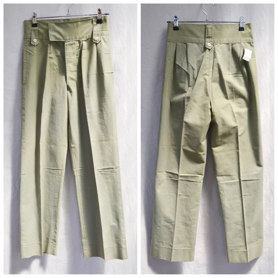 """Deadstock Military Trousers - High Waisted, Contrast Buttons - Thin Green Khaki Vintage Uniform Pants - Small 26"""" Waist"""