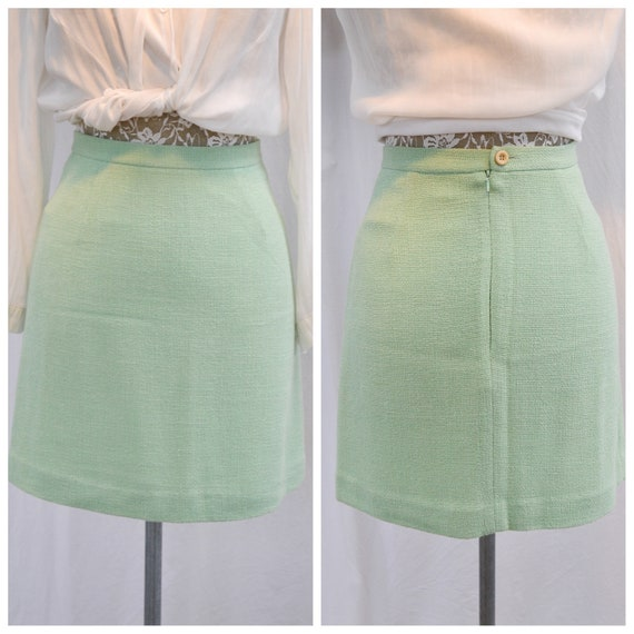 "Stunning Rayon Blend MINT GREEN Mini Pencil Skirt by BIANCA - Fully Lined - 90's Designer Quality - Small, 25"" Waist"