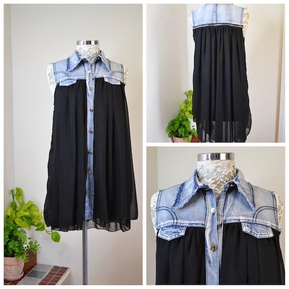 Black Sheer Chiffon Sleeveless Mini Dress, Acid Wash Denim Collar, A-line Cut, Fully Lined, 90's or 00's - One Size