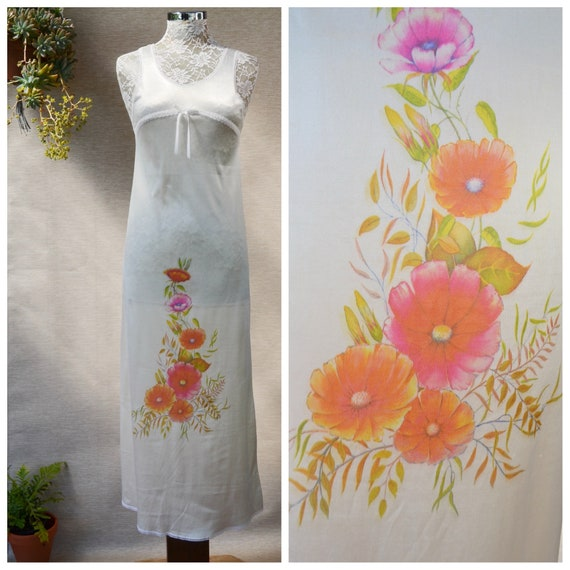 1960's Slip Dress in Liquid Satin, Printed Flowers, Feminine Lace Trim. Long Skinny Ankle Duster, Vintage Night Gown Lingerie  - XS