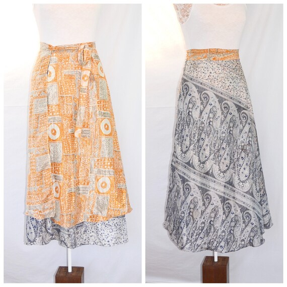 Vintage Indian Silk Sari Wrap Skirt in Marigold & Slate Grey.  Reversible Light Airy - One Size
