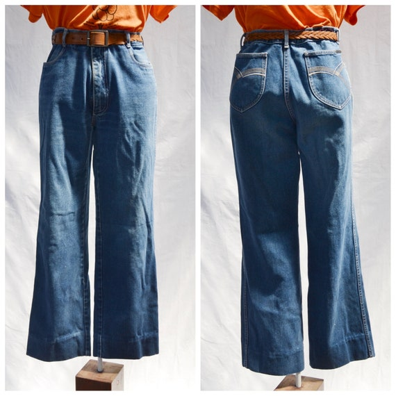 """1970's Brittania Denim Stove Pipes - Straight Leg, Slight Flare - High Waisted Highwaters - Soft thick faded - Unisex 32"""" Waist"""