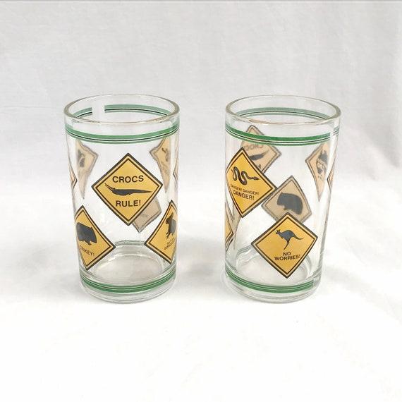 Pair Australia Zoo Souvenir Vintage Glassware, Heavy & Sturdy, Good Quality - Steve Irwin, Iconic Aussie Animals