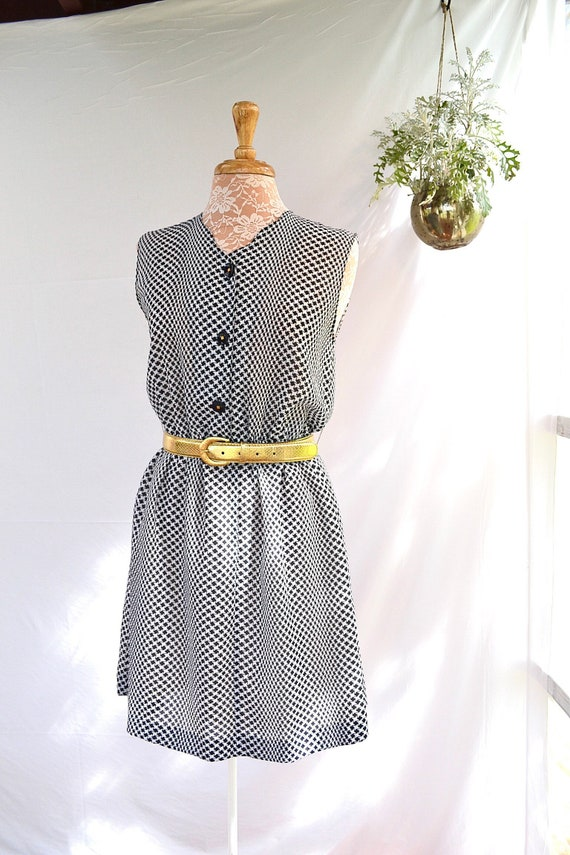 60's Sheer Chiffon Navy Houndstooth Cute Granny Dress -- Sm