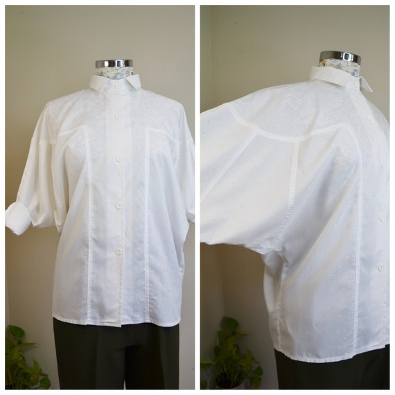 New Wave 80's Bright White Button-up Shirt - Extreme Batwing Sleeves, Subtle Polka Dots, Cotton Blend - Made in Australia  - One Size