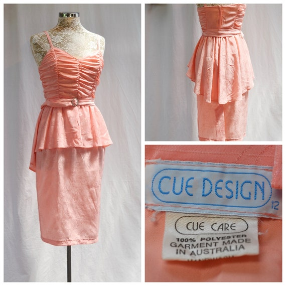 80's Salmon Slinky Sexy Pencil Dress - Asymmetrical Hem, Matching Belt, Sleeveless Ruched Bodice by Cue Designs Australia - US 8 AUS 12