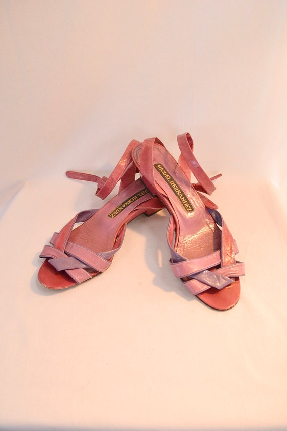 Mauve & Plum Strappy 70's Leather Sandals - Vintage Made In Spain - 36.5