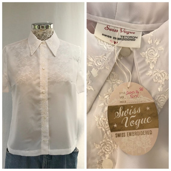 "Mid-century Swiss Embroidered Summer Blouse - Deadstock New w/ Tags - RARE Timeless Classic - Small Medium 36"" bust"
