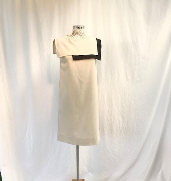 Vintage Linen Look* Viscose Minimal Shift - MOD 1960's Plain Shift - Square Contrast Collar - Medium - AUS 12