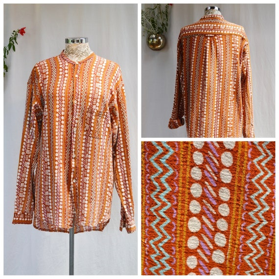 Vintage Saville Row Cotton Weave  Collarless  Button Up Shirt - Vibrant Rust, Cream, Aqua Tribal Geometric - Unisex Large