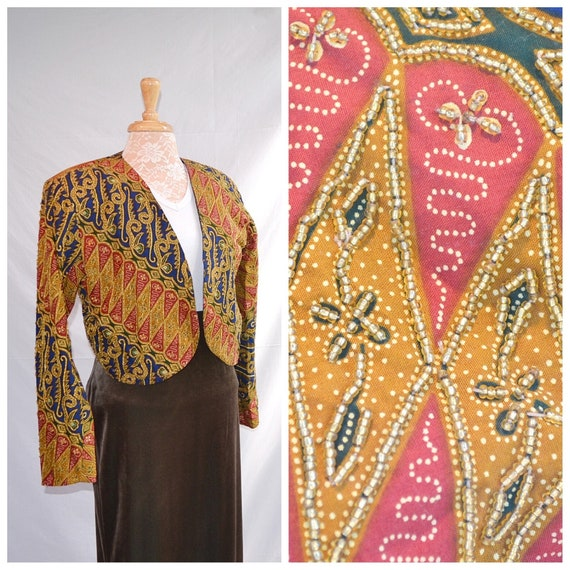 Exquisite Indonesian Beaded Batik Bolero - Fully Beaded Sleeves & Front - Gold Beading on Navy Red Ethnic Paisley -  Med