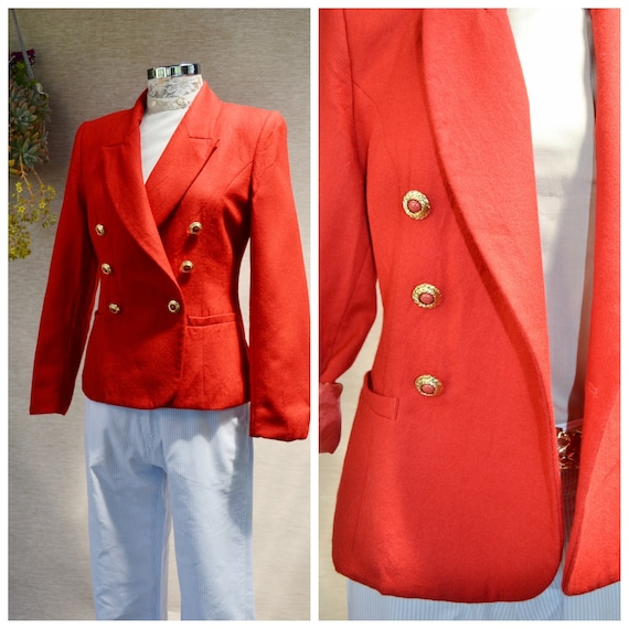 Fire Engine Red 100% Wool Double Breasted Boxy Blazer by JOAN. Bright Cherry Red Vintage MOD Preppy Fancy Lady Blazer  - Small AU 12