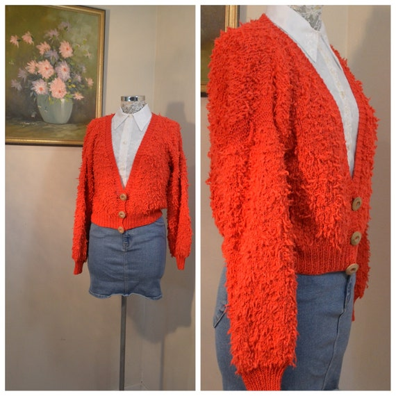 Vibrant Red Vintage Italian Handmade in Florence Italy - Hand Knit Cardigan - Super Soft Cotton Nubby Yarn - Sm, Med