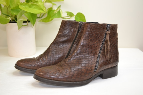 Brown Snakeskin Look Italian Leather NEO Flat Ankle Boots - Side Zip-Up Comfort Rubber Soles -Made in Italy - 36