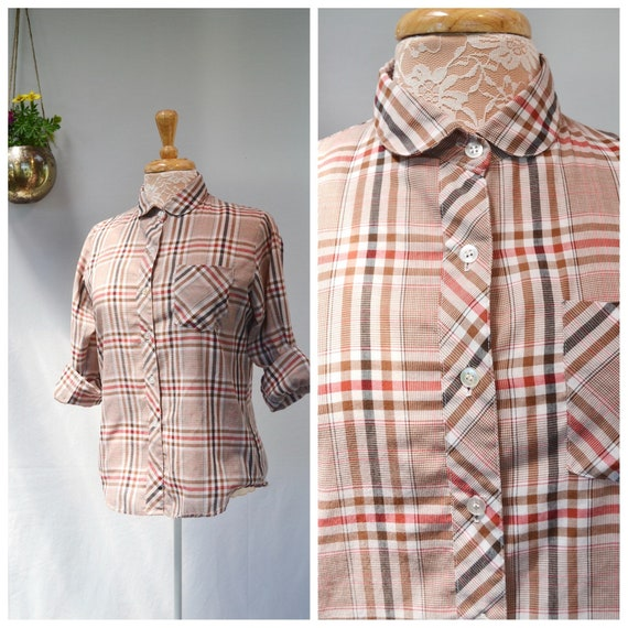 Hong Kong Vintage - Groovy Plaid Button up Shirt - 1970's Round Collar - Brown Plaid - Cotton Polyester Blend - Women's Small