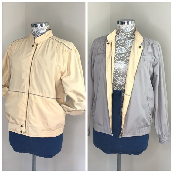 Totally Reversible 80s Wind Breaker in Vanilla & Grey - Brass Zippers, Snaps - Awesome Vintage Wind Cheater - Women's Small Medium - AUS 12